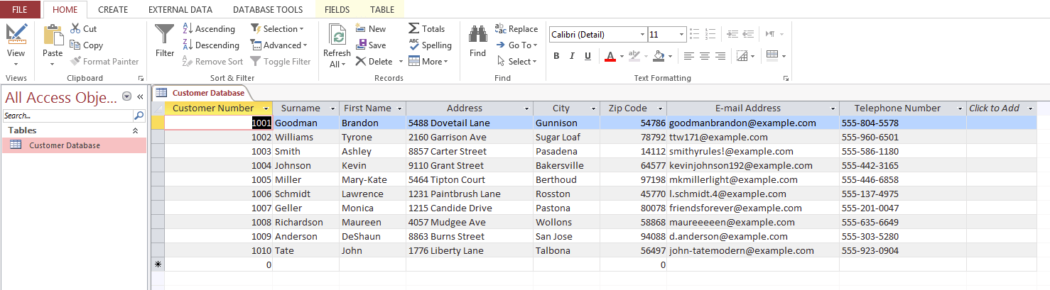 example of a customer database in microsoft access