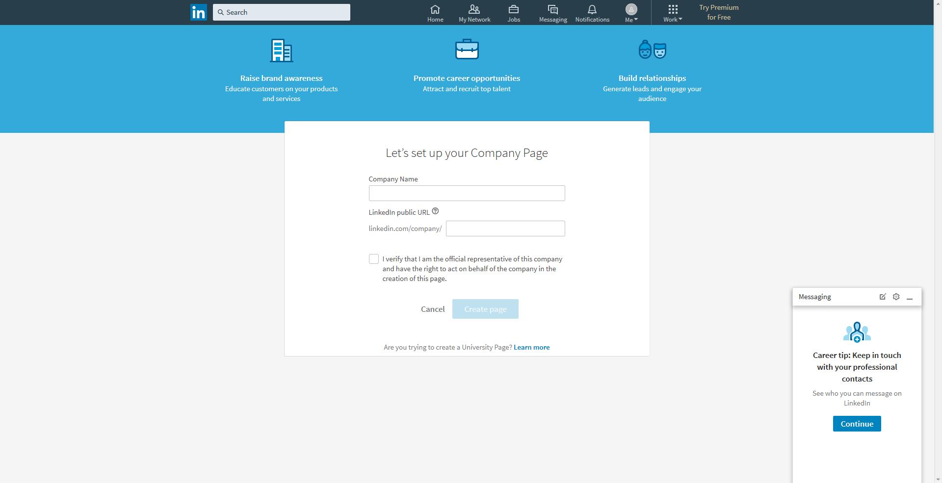 how to create a linkedin company page url