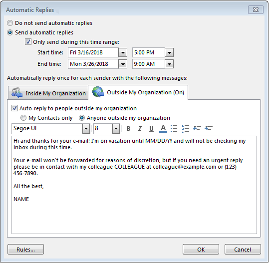 Setting Up An Outlook Out-of-office Message