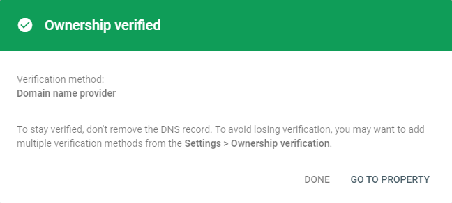 Google Search Console - Verification Success message