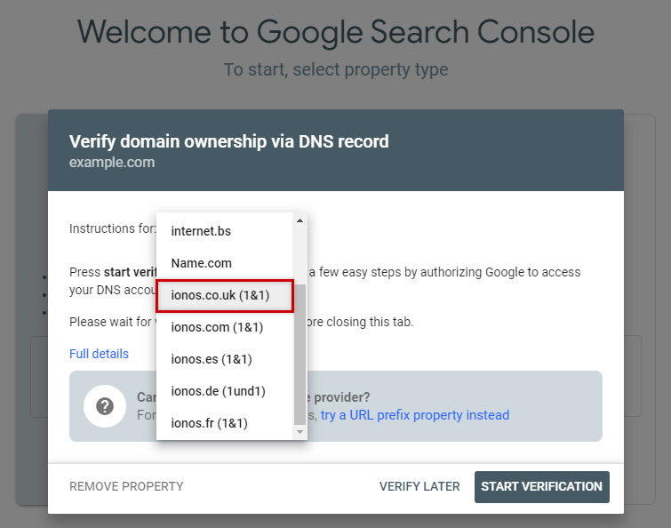 Google Search Console - Provider List - ionos.co.uk