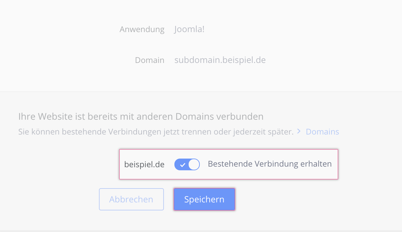 Disconnect domain from safe mode Click & Buildapplication - 1&1