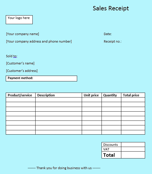 sales receipt templates the easy way to write sales receipts 1 1. Black Bedroom Furniture Sets. Home Design Ideas