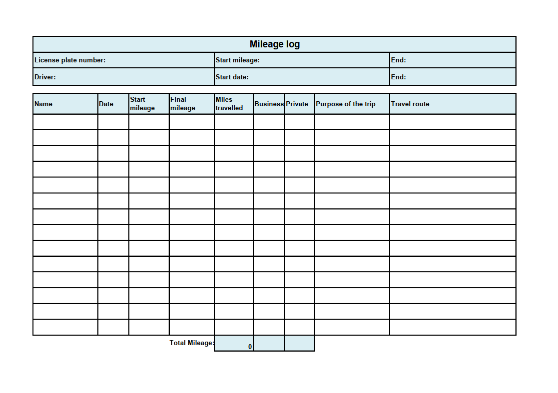Free Mileage Log Template Download Ionos